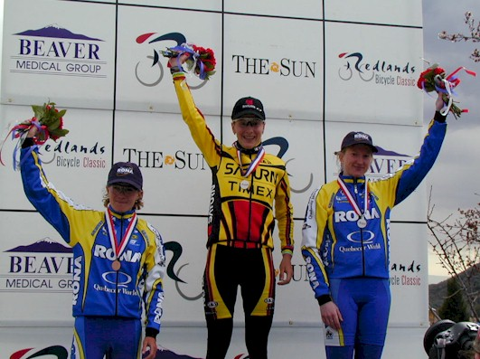 Judith Arndt, Andrea Hannos, and Geevieve Jeanson came in 1st, 2nd, and 3rd on the Women's Winner Podium